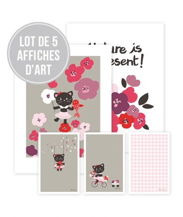 Lot 5 affiches Milly le chat et son amie