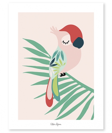 Affiche fille tropical perroquet rose