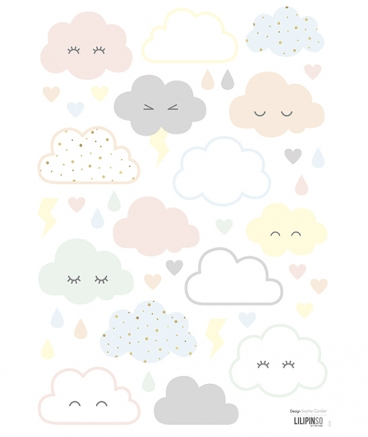 Stickers nuages pastels