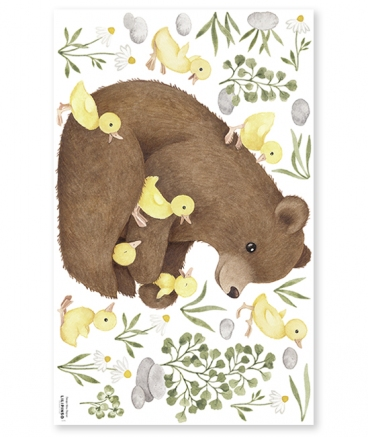 Stickers animaux ours brin et cannetons