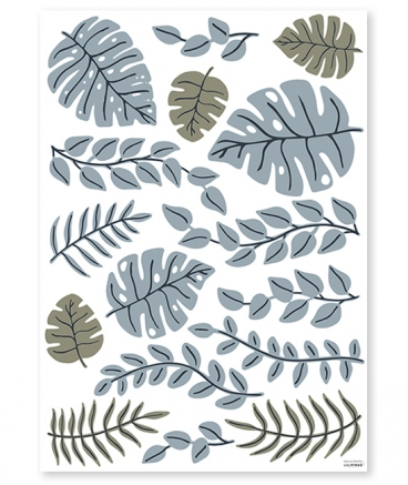 Sticker jungle feuilles monstera