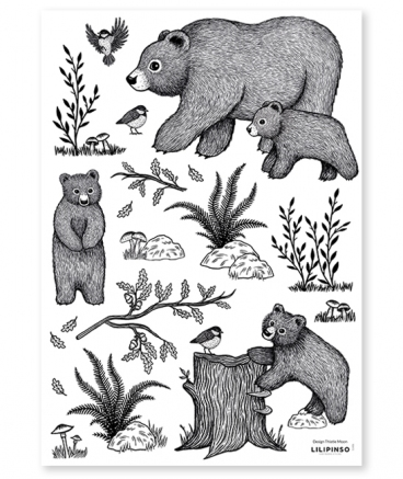 Stickers muraux animaux ours et ourson