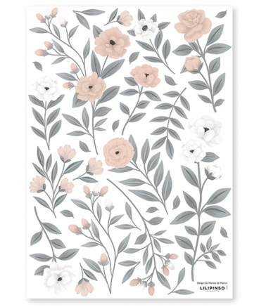 Stickers chambre fille - Les roses