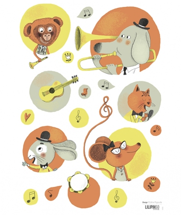 Stickers animaux musiciens vintage