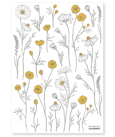 stickers fleurs ocre marguerittes camomille chambre fille decoration lilipinso