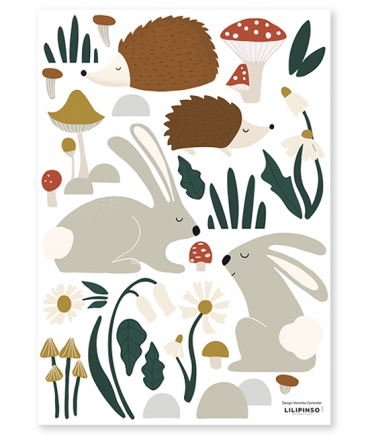 stickers foret animaux chambre bebe lilipinso