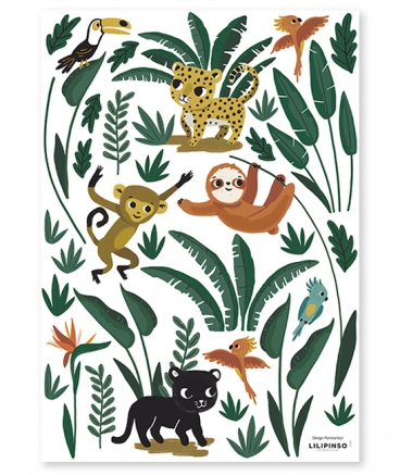stickers jungle animaux chambre bebe decoration