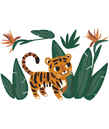 stickers tigre jungle chambre bebe decoration lilipinso