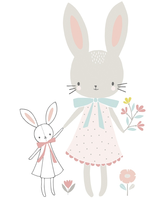 Sticker chambre d 39 enfant demoiselle lapin - Stickers repositionnables chambre bebe ...