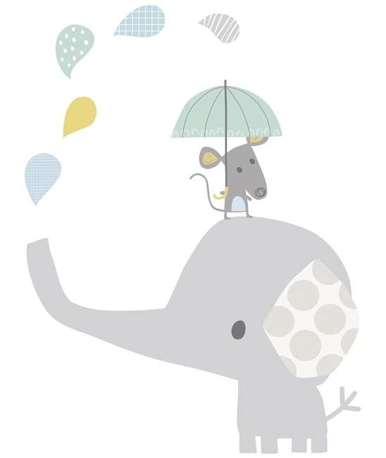 Stickers chambre d 39 enfant petit l phant gris - Stickers muraux repositionnables bebe ...