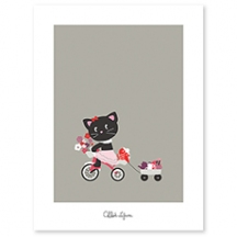 Affiche décorative enfant chat et son tricycle fille