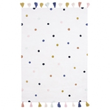 Tapis coton rectangle pois multicolores