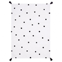 Tapis coton rectangle à pois noirs