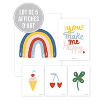 Lot de 5 affiches you make me happy