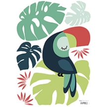 Sticker feuille monstera et toucan