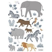 Stickers muraux animaux de la jungle, zèbres, girafe ...