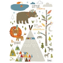 "Sticker mural enfant indien ""Little indians"""