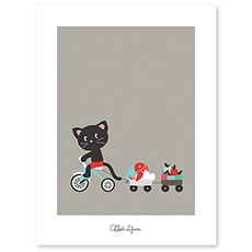 Poster enfant chat et son tricycle