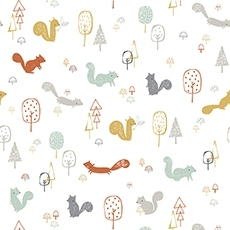 Echantillon papier peint - squirrels wood