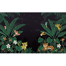 Papier peint décor mural - Jungle night