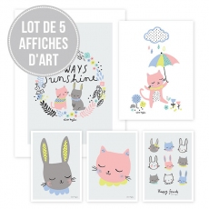 Lot affiches enfant chats