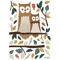 stickers foret hibou chambre bebe decoration